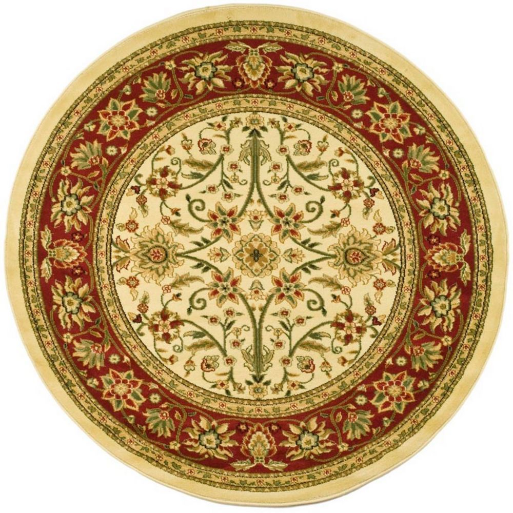 Lyndhurst Byron Ivory Red 8 Ft X 8 Ft Indoor Round Area Rug