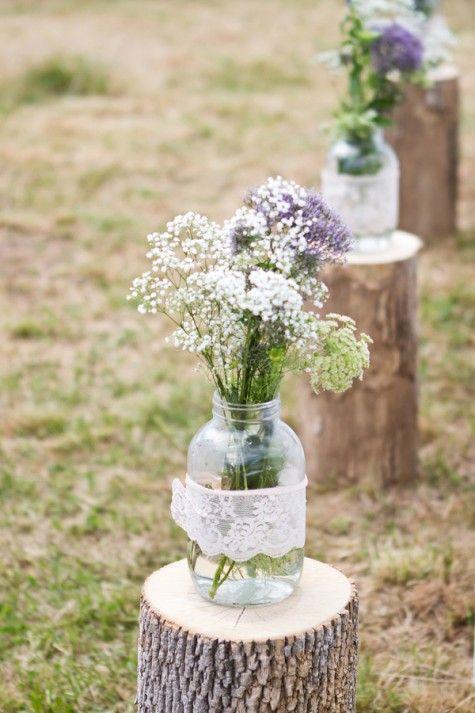 rustic lace wedding ideas-wildflower wedding aisle
