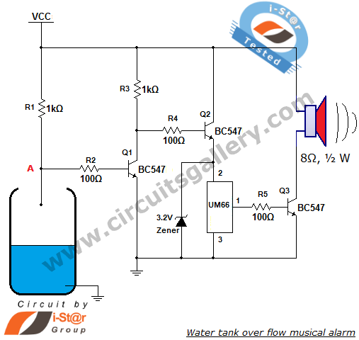um66 based water tank over flow musical alarm circuit diagram,