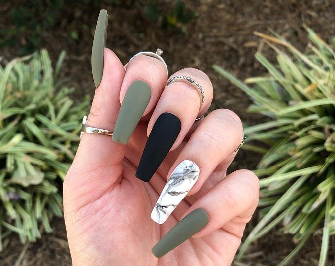 Hunter Green Marble Print Press On Nails | Choose Your Shape | Reusable | Coffin Nails | Stiletto Nails | Fake Nails | Glue on Nails