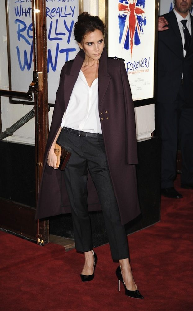 c55482884d Victoria Beckham Wears Her Own Designer Wool-Twill Coat