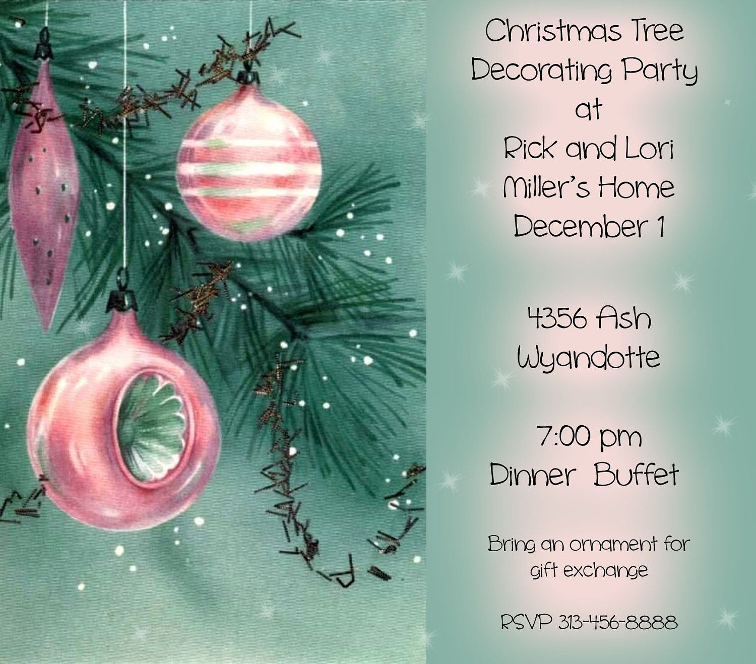 Christmas tree decorating party invitation that you print