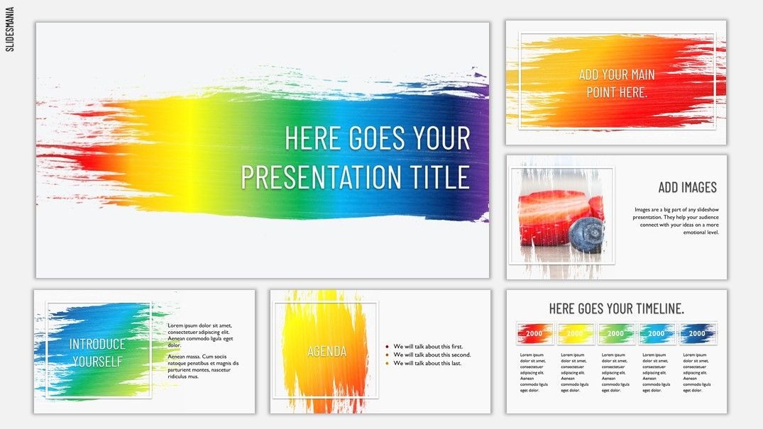 Rainbow Brush Free Template For Google Slides Or Powerpoint Presentations Google Slides Powerpoint Powerpoint Presentation