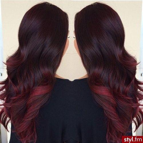Long Dark Brown Hair Red Tips Hair Styles Hair Hair Beauty