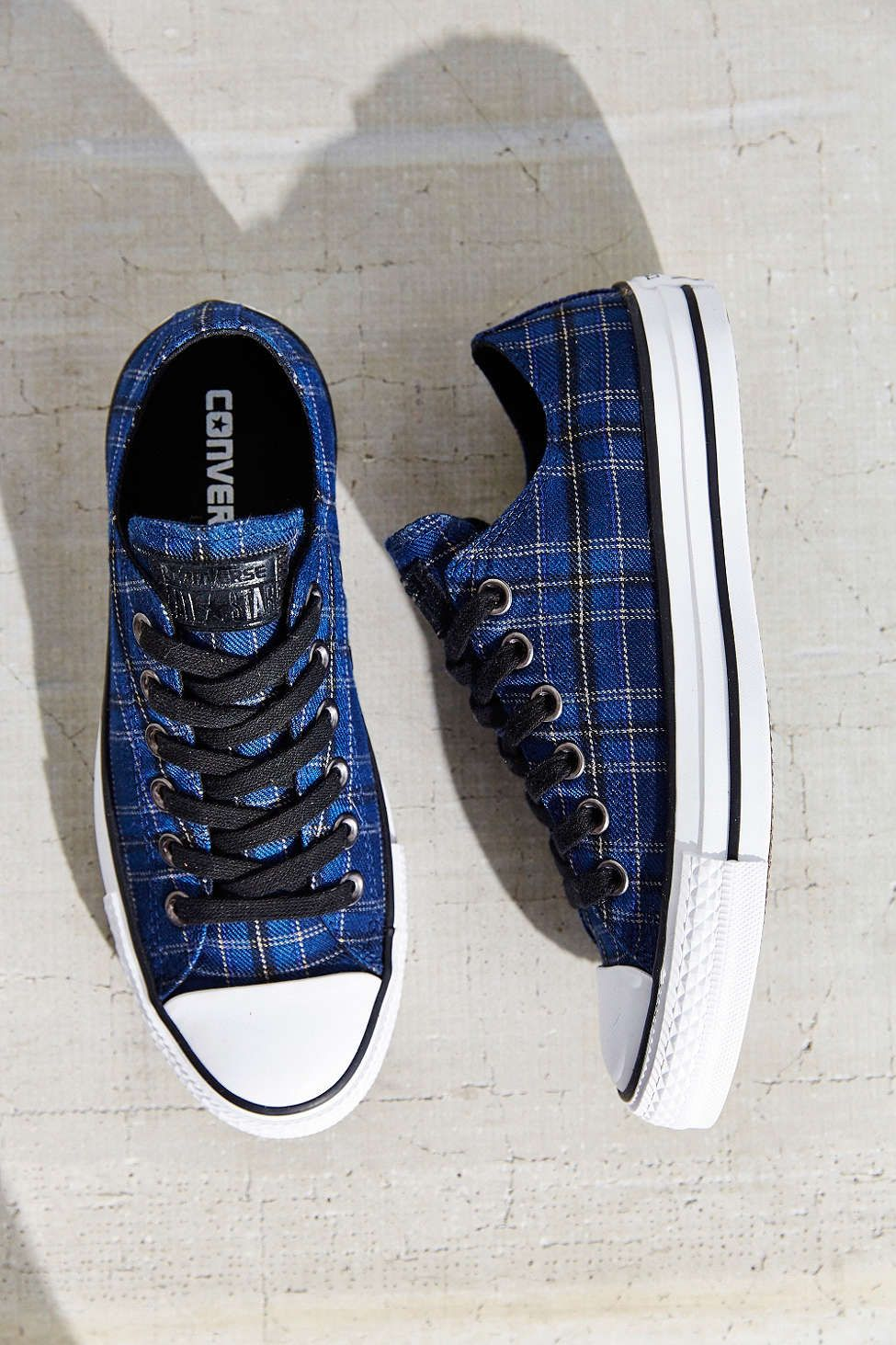 Converse Chuck Taylor All Star Plaid Low Top Sneaker--black and blue plaid  converse 464335dc5