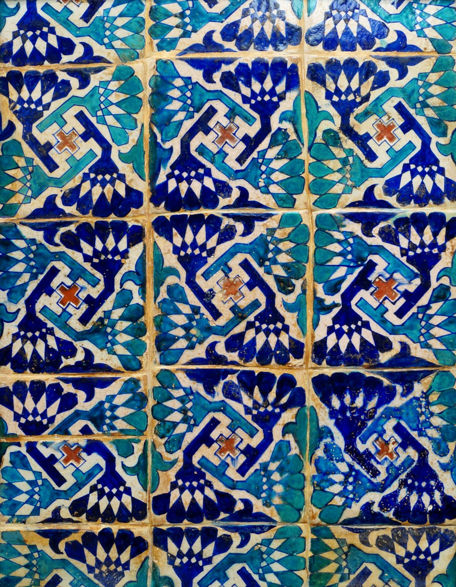 Lot 99 - A Multan tile panel, Northern India, late 15th century ...