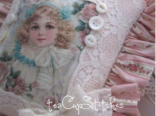 Sweet Frances Brundage Girl~Pink Roses~VINTAGE IMAGE PILLOW~Shabby Cottage Chic