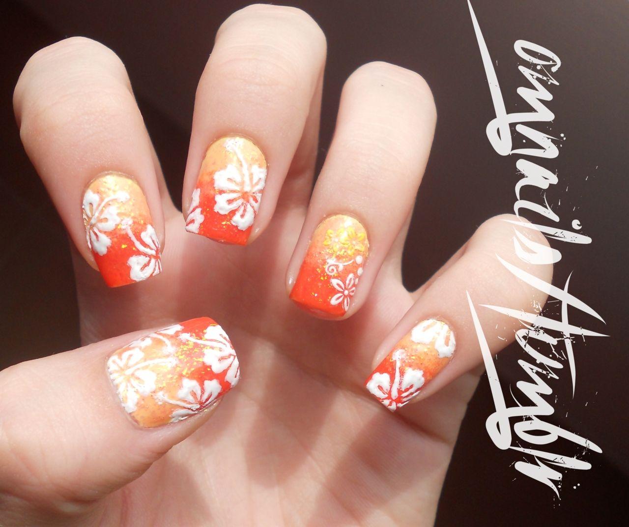Hawaiian flower nails | Nail Designs | Pinterest