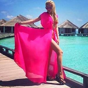 70aa97aa2253a One Size Beach Outings Cover up Chiffon Robe Plage Candy Color Kaftan Dress  Pareos For Women Beach Tunic Sarong Swimsuit BC051. Elegant ...