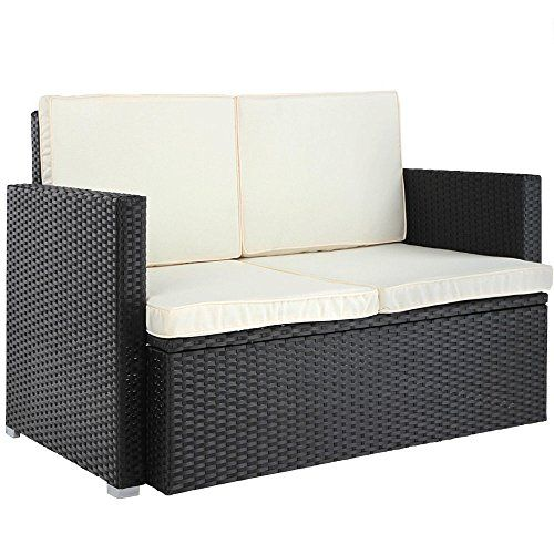 Yopih Polyrattan Lounge Sofa 2-Seater Outdoor Garden Patio Wicker ...
