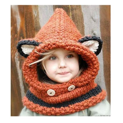 0687391e9ae Sweet Baby Kids Crochet Knitted Fox Scarves Hoodie Wraps Orange and Gray  Color Fall Winter Christmas Kids Girls Scarves(China (Mainland))