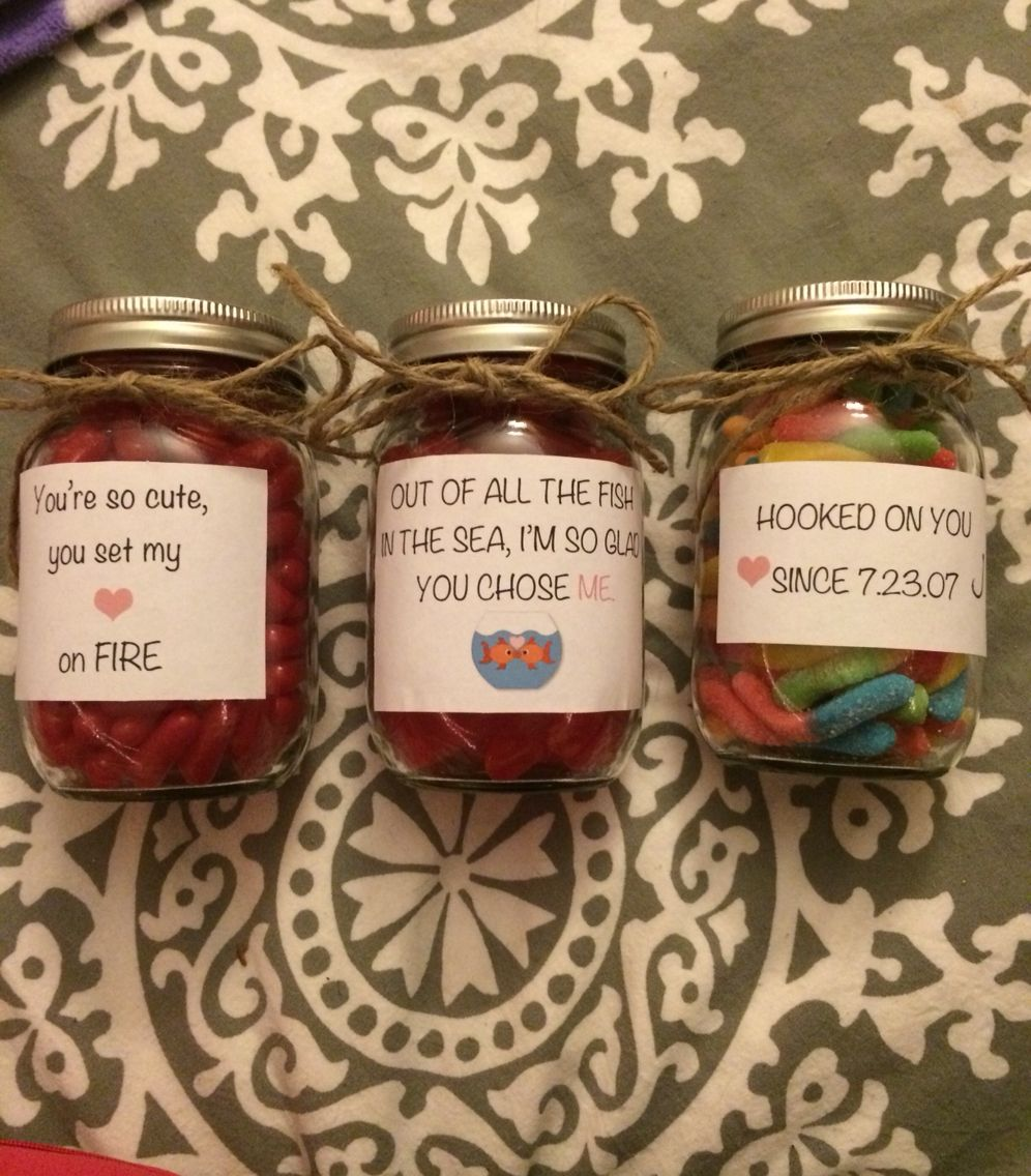 Cute sayings on mason jars full of candy for Valentine's
