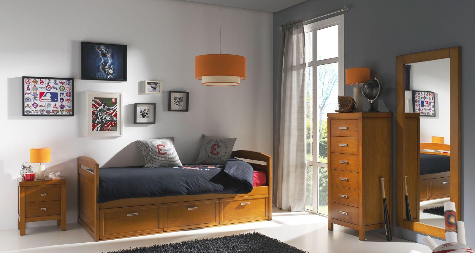 Dormitorio juvenil de madera con cama nido con cajones for Quiero tus muebles