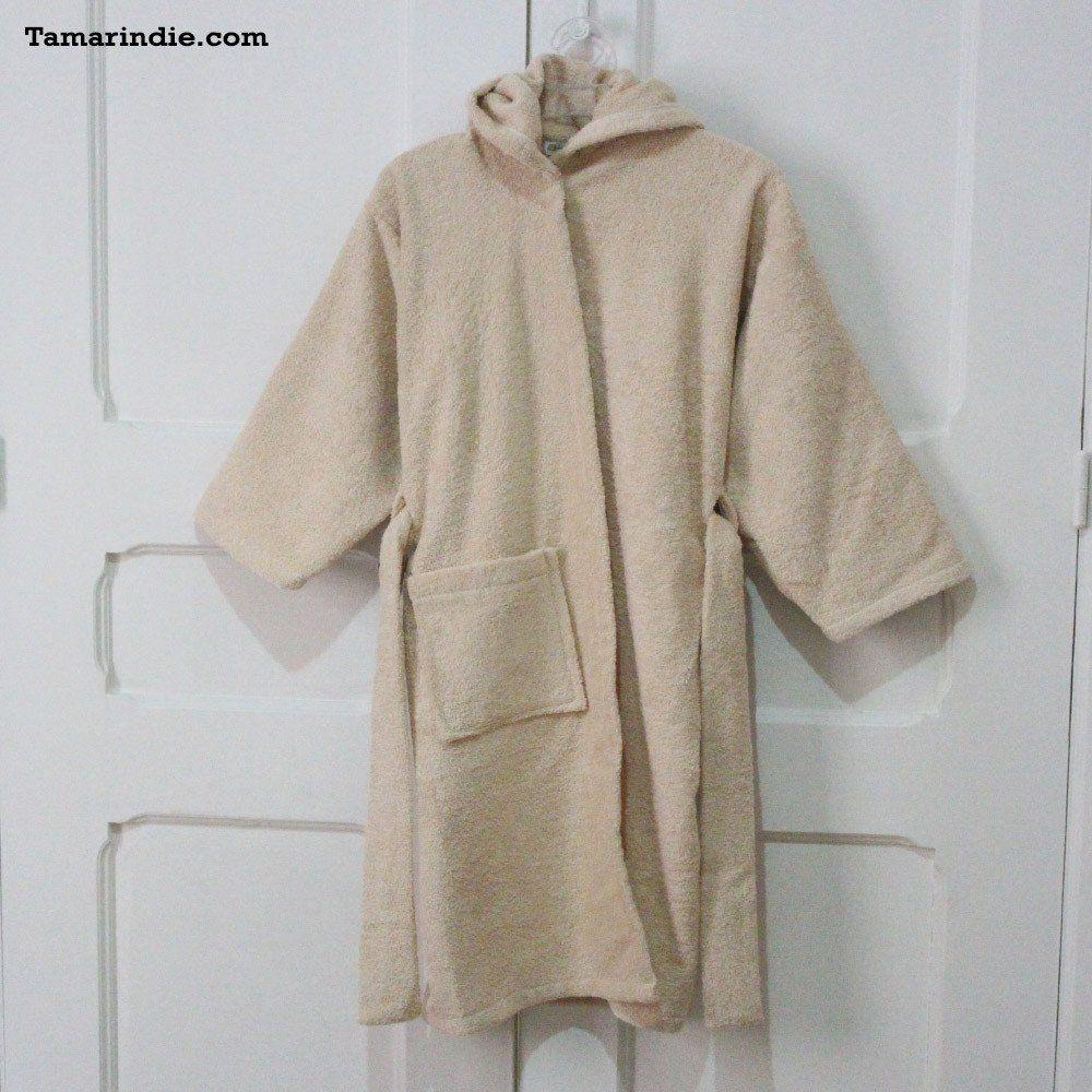 Beige Hooded Kids Bathrobe Bathrobe Beige Towel Robe