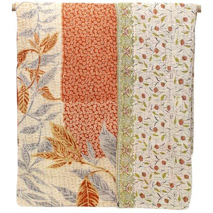 Kantha Quilted Throw - Lovely Leaf