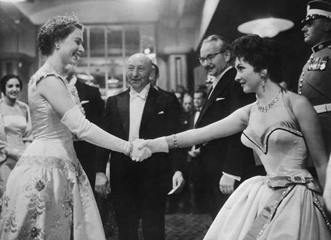 Erzsébet királynő és Lollobrigida