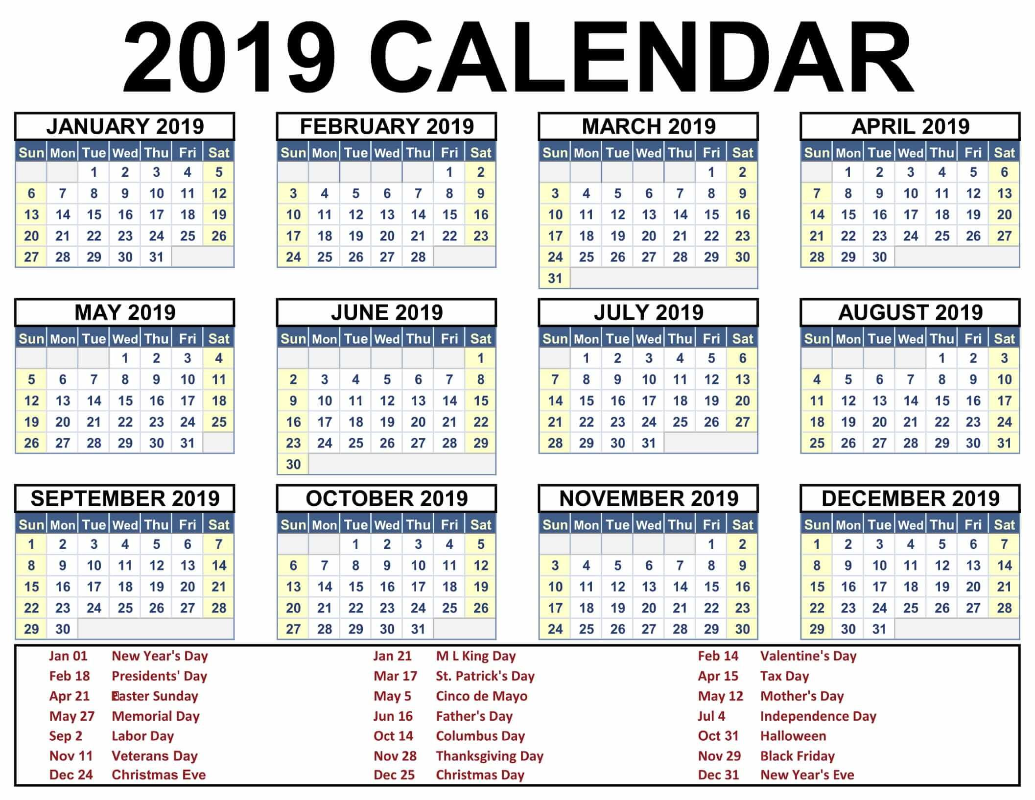 Free Yearly 12 Month Calendar One Page Template Printable With
