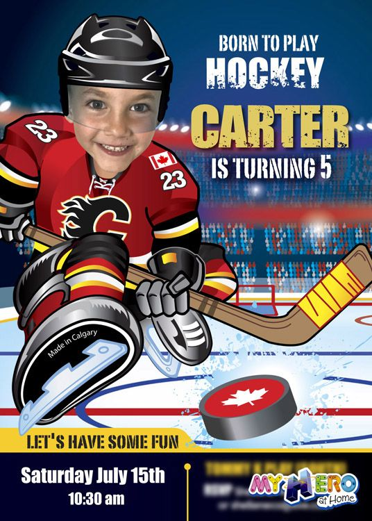 Calgary Flames Birthday Invitation Turn your little one into his - invitation letter for home party
