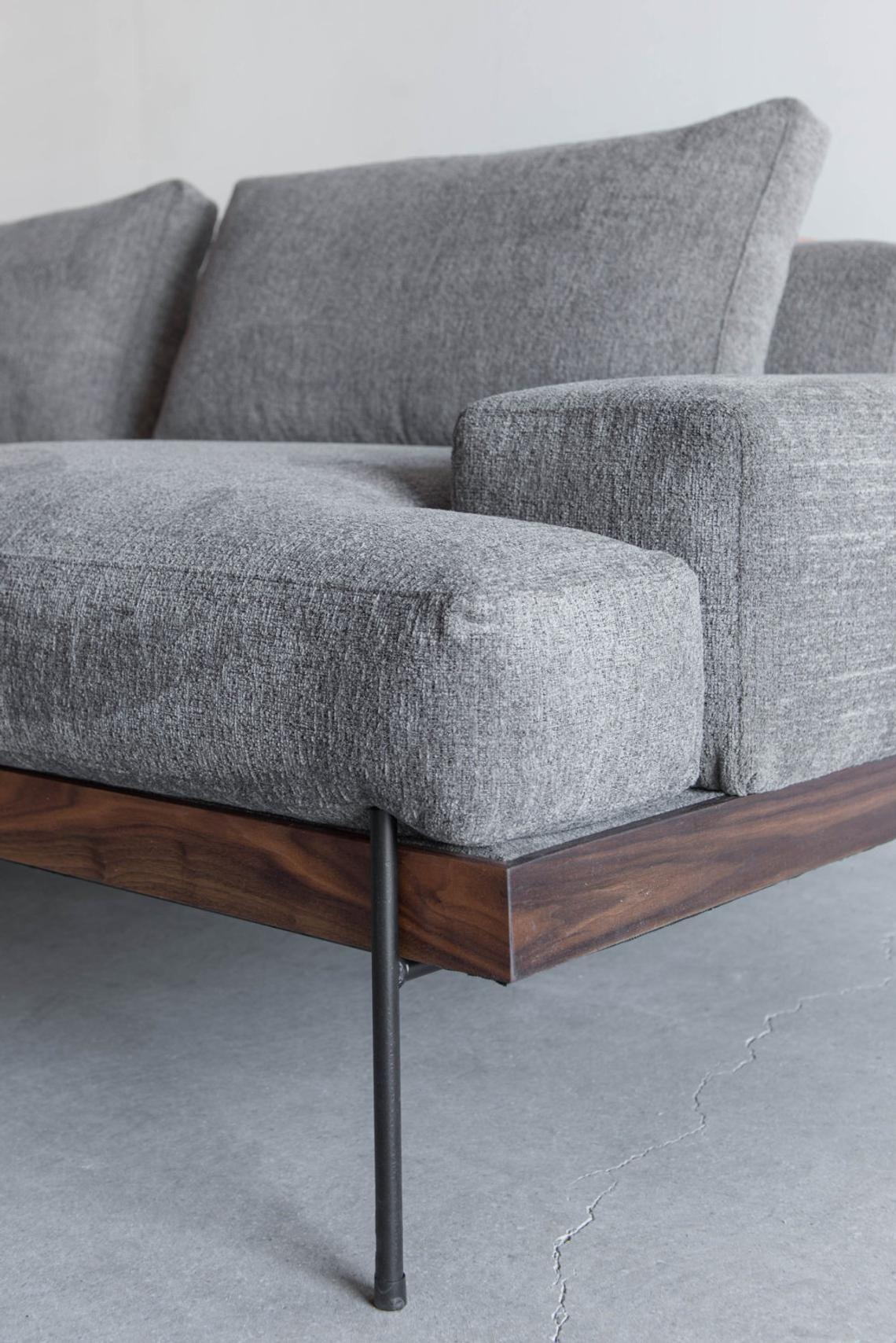 Rivera Sofa Walnut And Steel Base Down Cushions Luxury Sofa Design Luxury Sofa Furniture