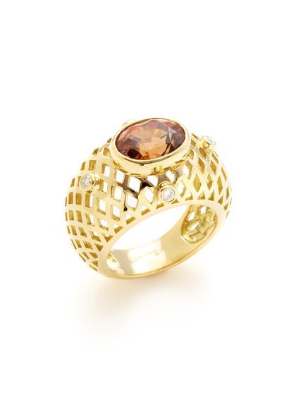 Crownwork Orange Zircon & Diamond Cutout Ring by Ray Griffiths at Gilt