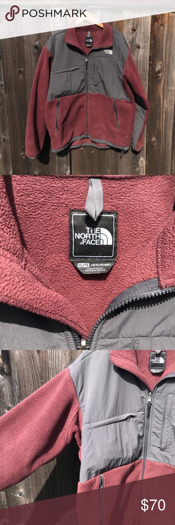 The North Face Men S Denali Maroon Fleece Jacket Grey Fleece Jacket Fleece Jacket The North Face [ 1740 x 580 Pixel ]