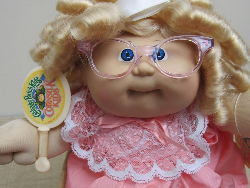 Vtg Coleco 1986 Cabbage Patch Kid Corn Silk Doll Glasses Blue Eyes One Dimple Cabbage Patch Kids Cabbage Patch Babies Cabbage Patch Dolls