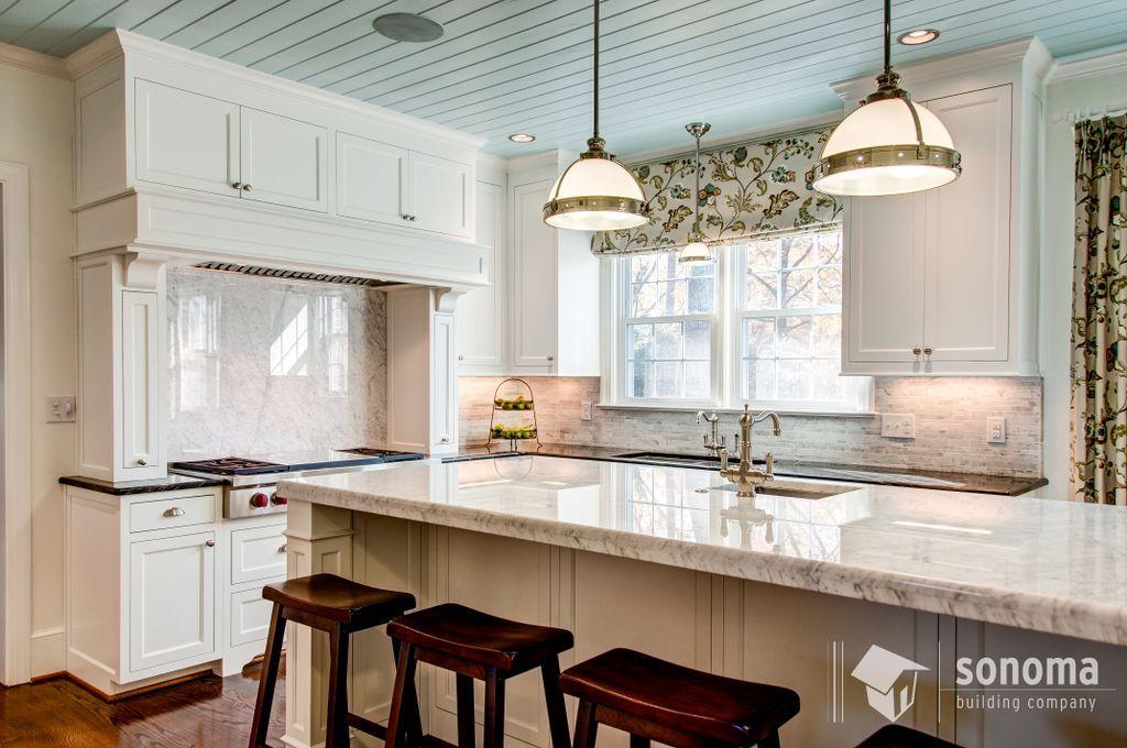 Sonoma Building Bloomday Granite Countertops Backsplash White Carrara Island White Carrara Granite Countertops Kitchen Countertops