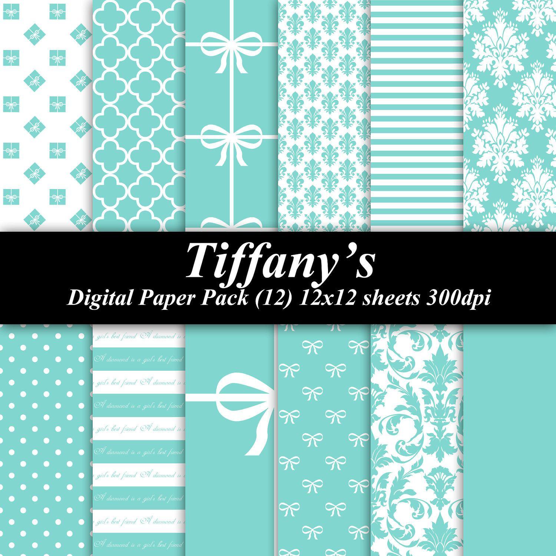 12x12 wedding scrapbook paper - Tiffanys Digital Paper Pack Sheets 300 Dpi Scrapbooking Invitations Wedding Shower Via Etsy