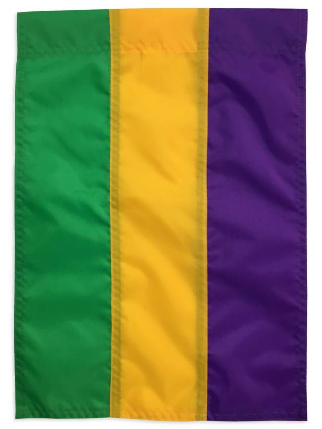 Striped Garden Flag In Mardi Gras Colors. Save It For Carnival Or Leave It  Out All Year! 100% Nylon. Size Is 13 Inches By 18 Inches.