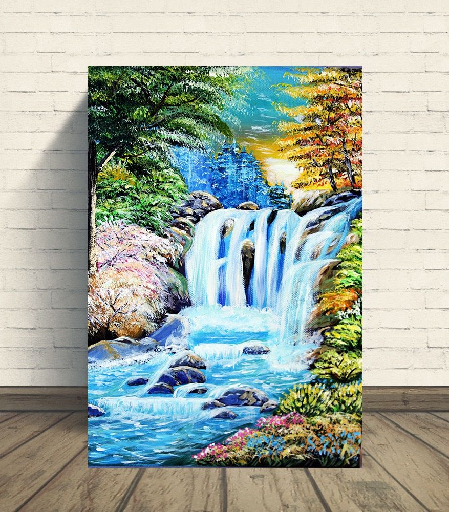 Original Acrylic Painting On Canvas Waterfall Landscape Acrylic Painting Canvas Waterfall Paintings Painting
