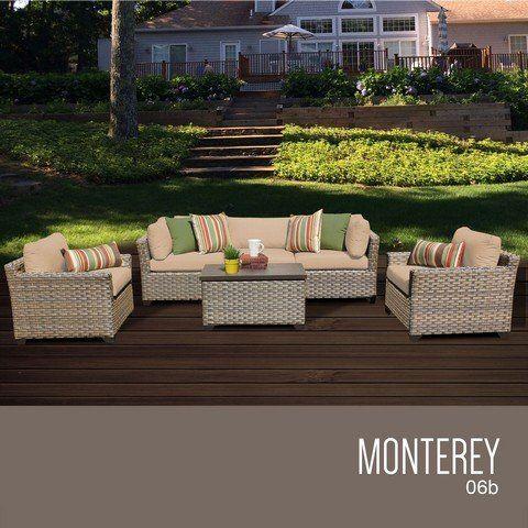 Outdoor Living Tkc Monterey 6 Piece Outdoor Wicker Patio Furniture