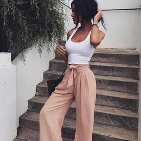 Erri | chiffon high waist harem pants