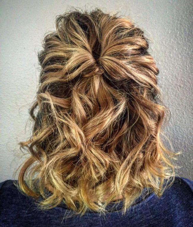 Wavy+and+Textured+Half+Updo | Short hair updo, Cute short ...