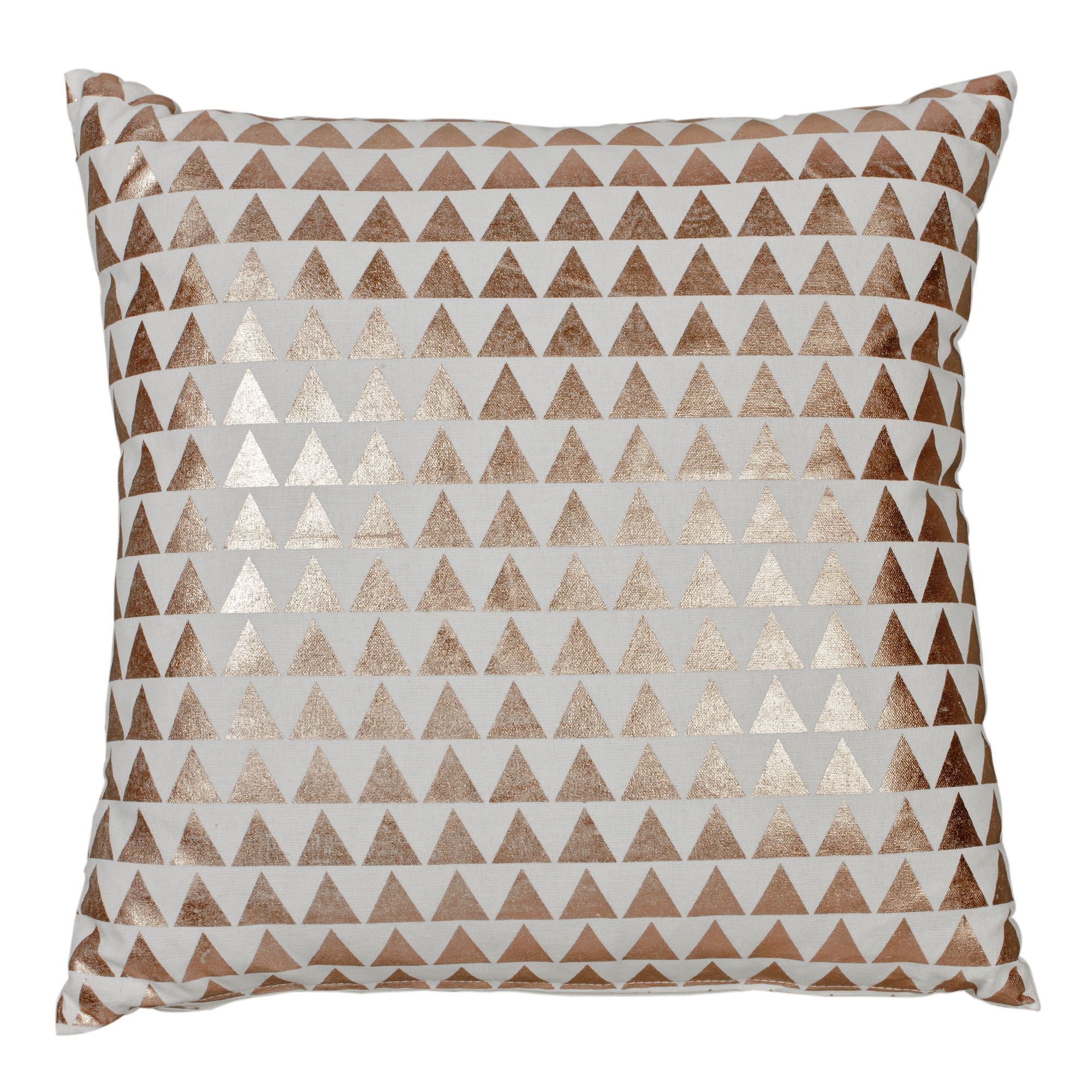 Coussin triangles cuivr s 43x43cm cuivr sirens - Coussin rose gold ...