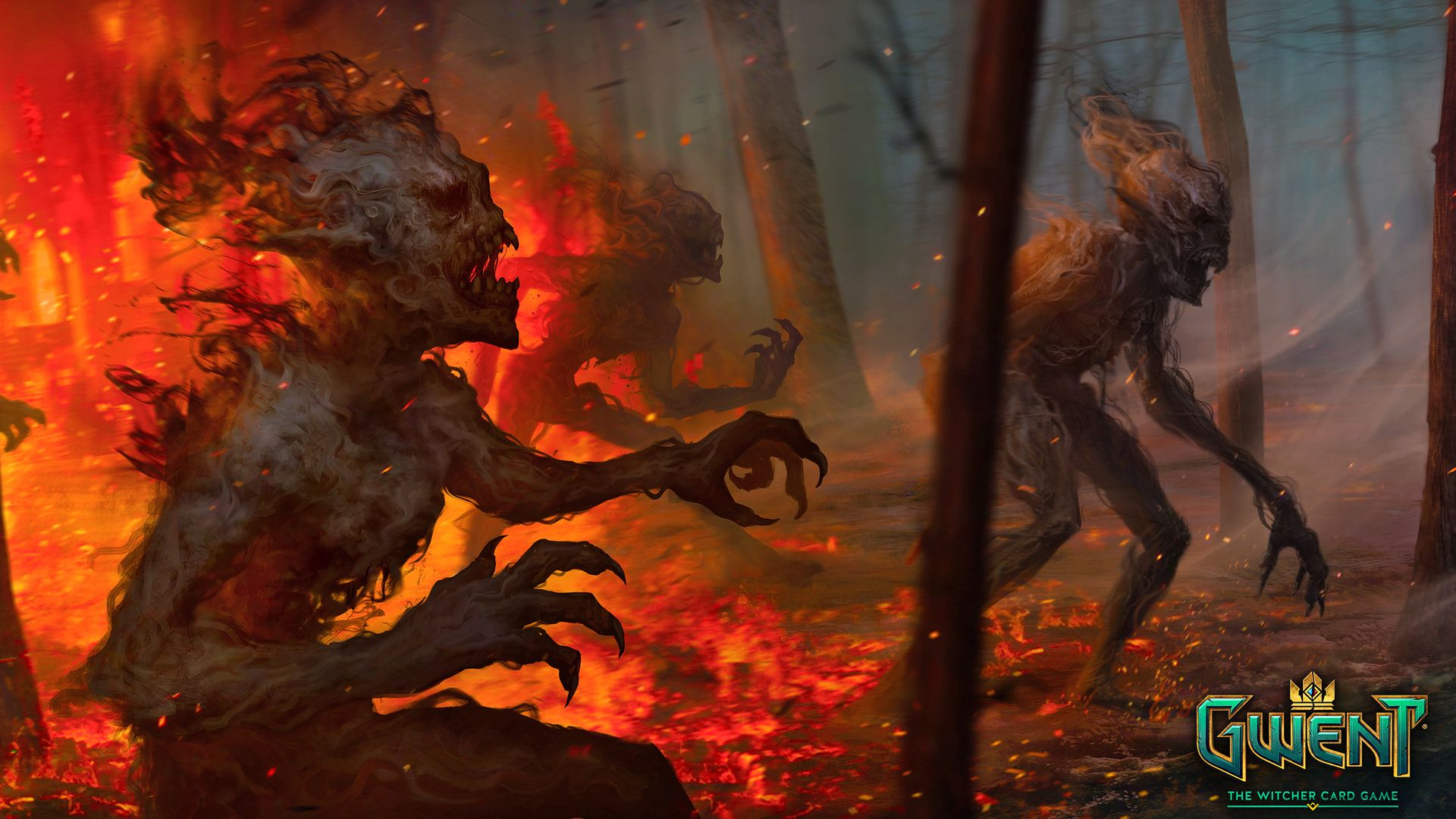 Gwent The Witcher Card Game Burning Monsters In The Forest Wallpaper For Thread Gwint The Witcher Card Game Witcher Art The Witcher Witcher Monsters