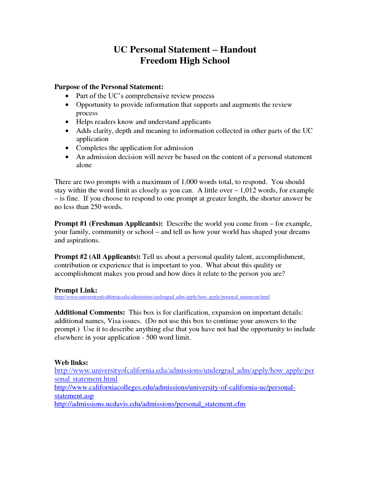 uc personal statement prompt   examples   attorney letterheads UC Personal Statement