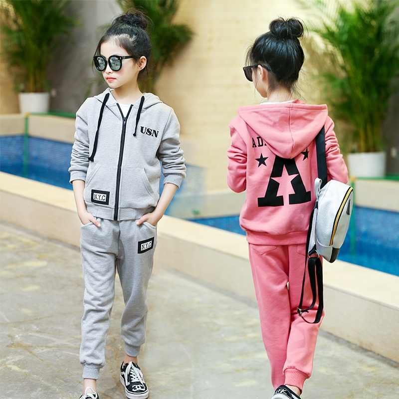 27.85$  Watch here  - 5 6 7 8 9 10 11 12 13t Girls Clothes Set Spring Sport Suits For Teenagers Baby Girls Hooded Outwear + Pant 2pcs Kids Clothing