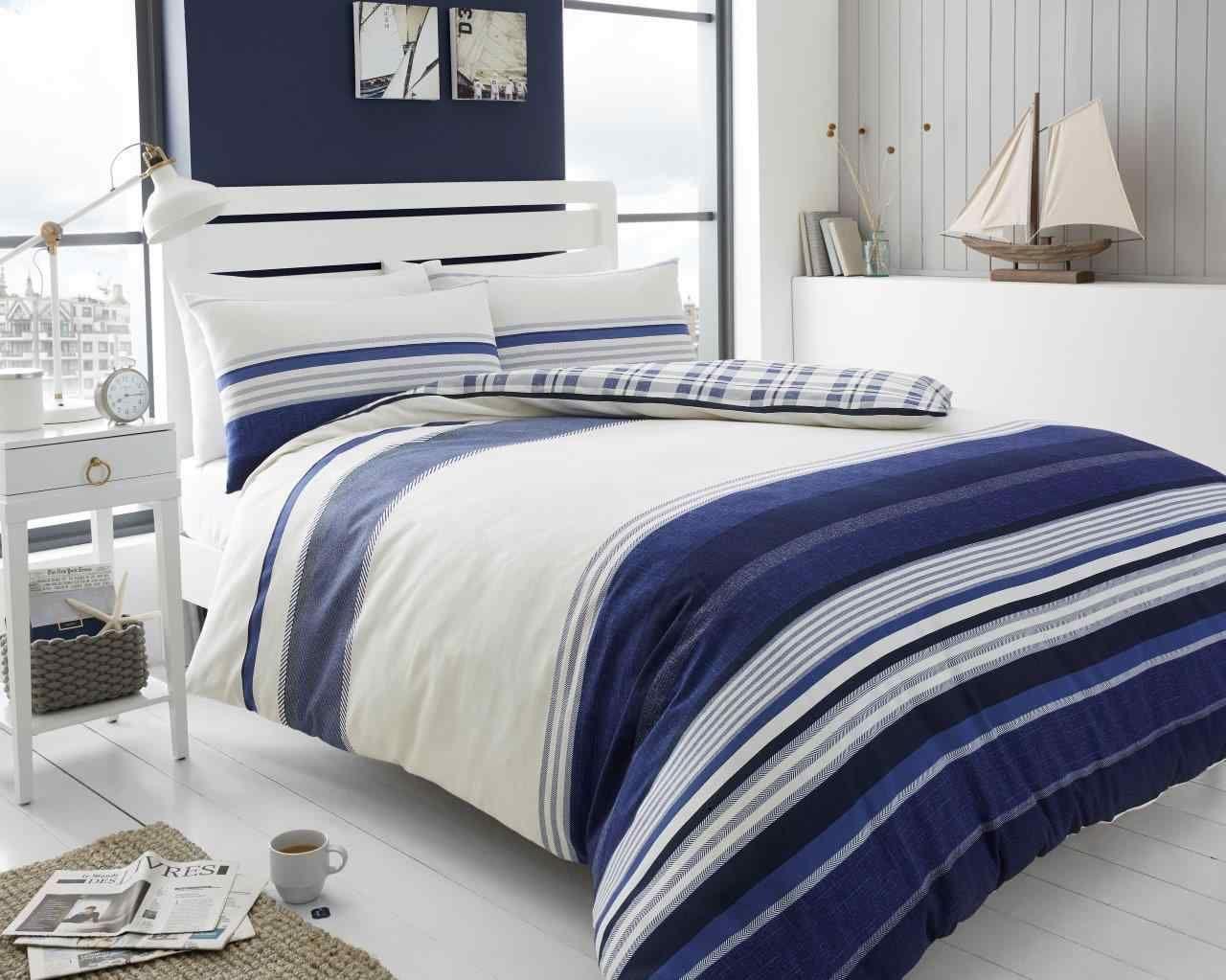 Herringbone stripe duvet quilt cover bedding set navy u linens