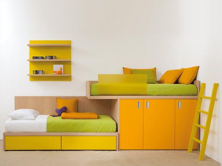 Letto a castello in legno con armadio 7050 collezione for Letto a castello con armadio