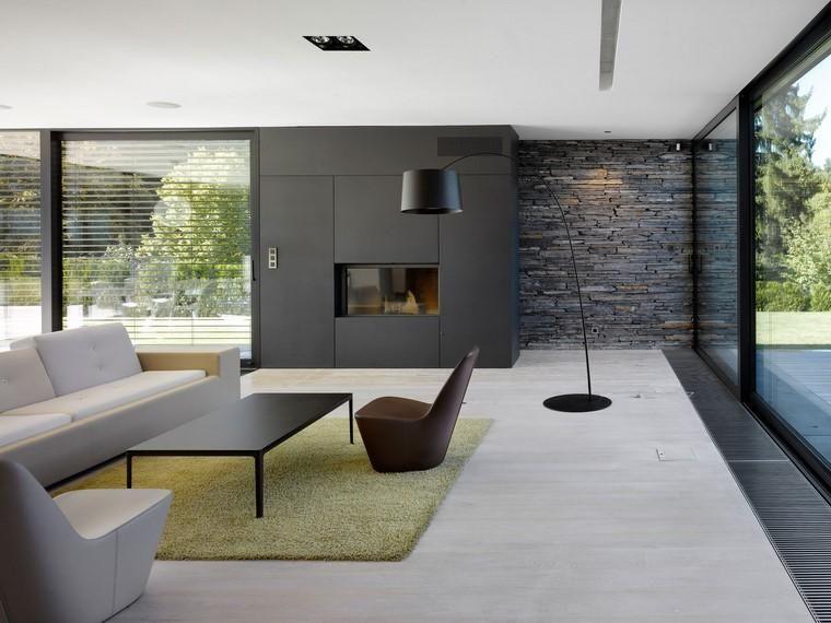 Minimalistische inneneinrichtung mit steinwänden innenarchitektur