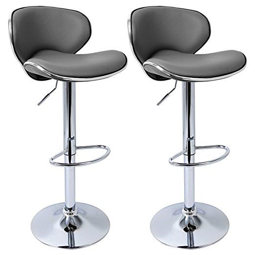 Groovy Woltu 280 2Er Luxury Faux Leather Bar Stools Grey Swivel Squirreltailoven Fun Painted Chair Ideas Images Squirreltailovenorg