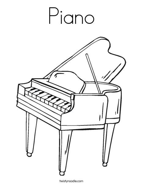 Piano Coloring Page For Kids Twisty Noodle Coloring Pages