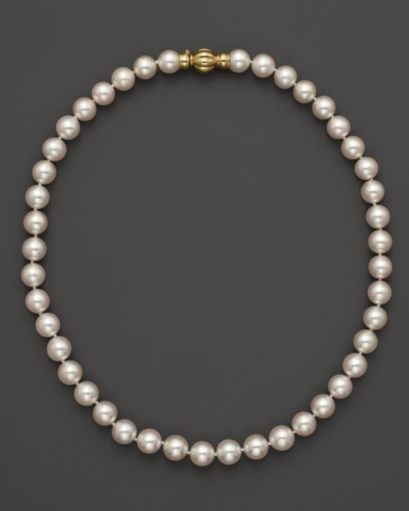 79b9ef759c085 14K Yellow Gold Cultured Akoya Pearl Necklace, 17 in 2019 | Jewels ...