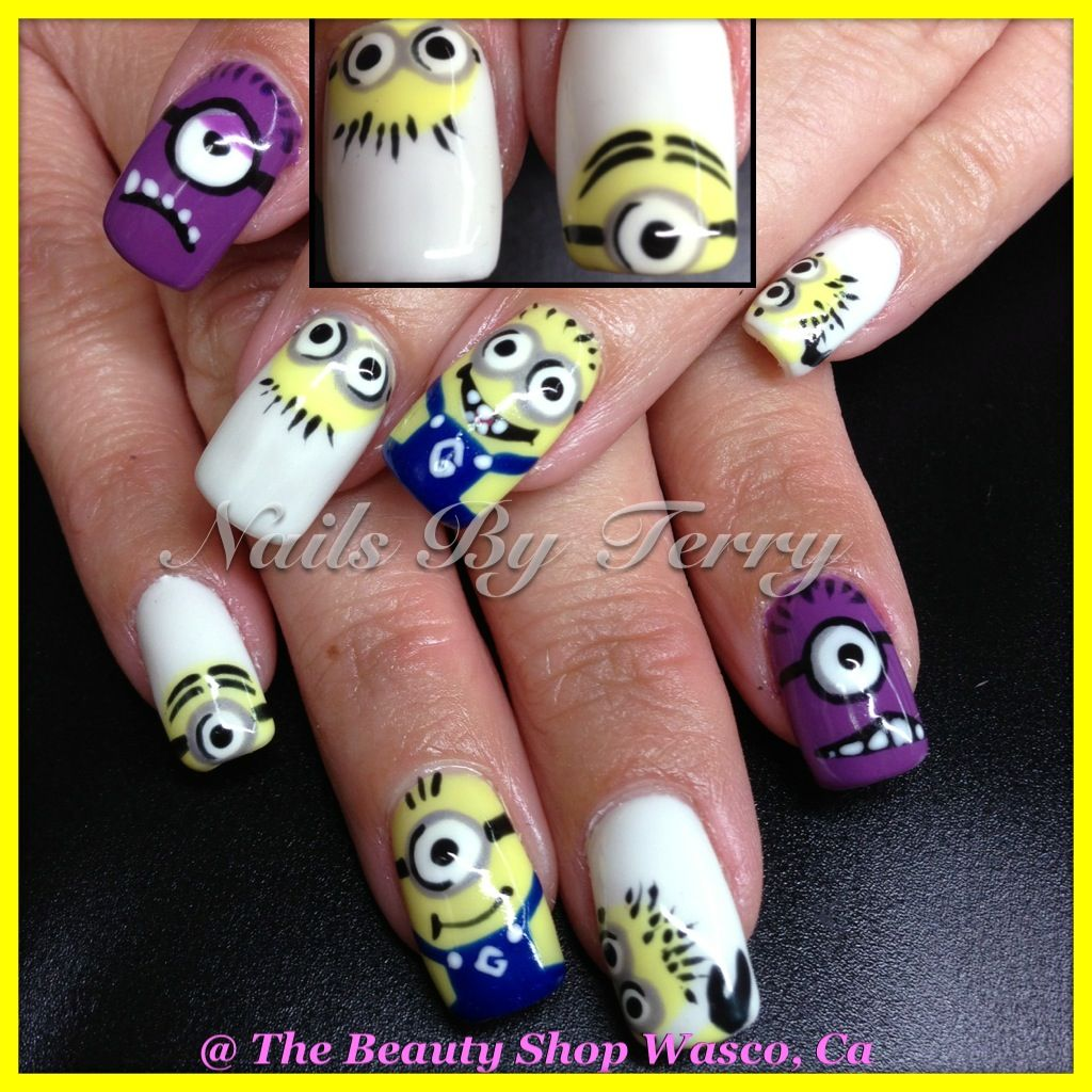 Despicable me nails | Character nail art by Terry | Pinterest ...