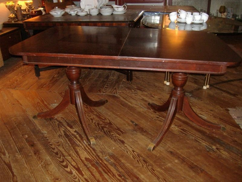 Mahogany Double Pedestal Duncan Phyfe Dining Table Vintage Antique Leaf Traditional