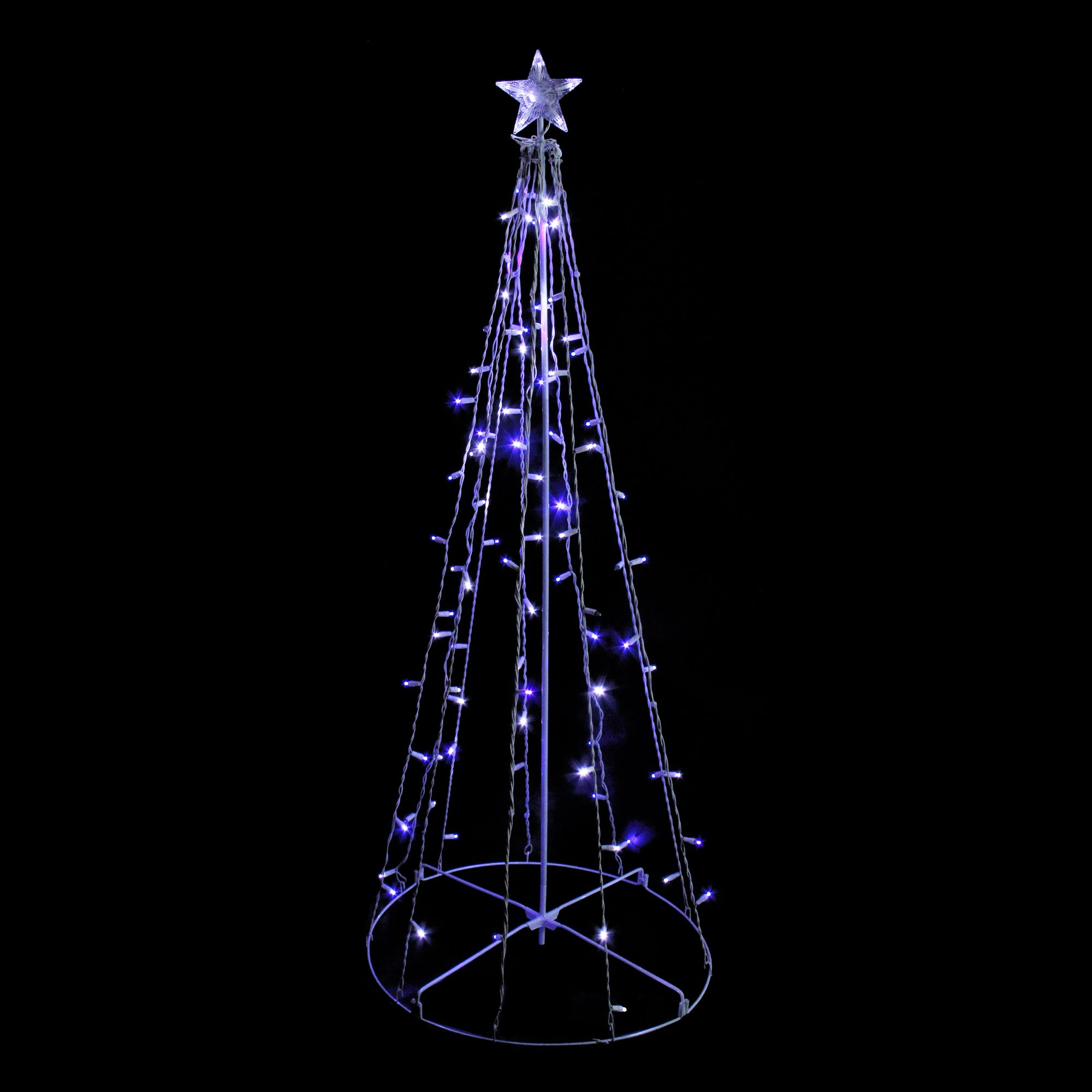 5 Blue And White Led Lighted Twinkling Show Cone