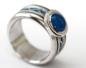 stone david i ring silver with white rings wedding yurman large agate tradesy