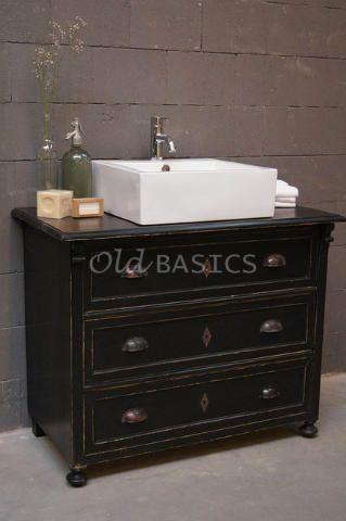 Brocante dressoir ladenkast wordt badkamermeubel echt uniek te koop bij www old - Badkamermeubels oude stijl ...