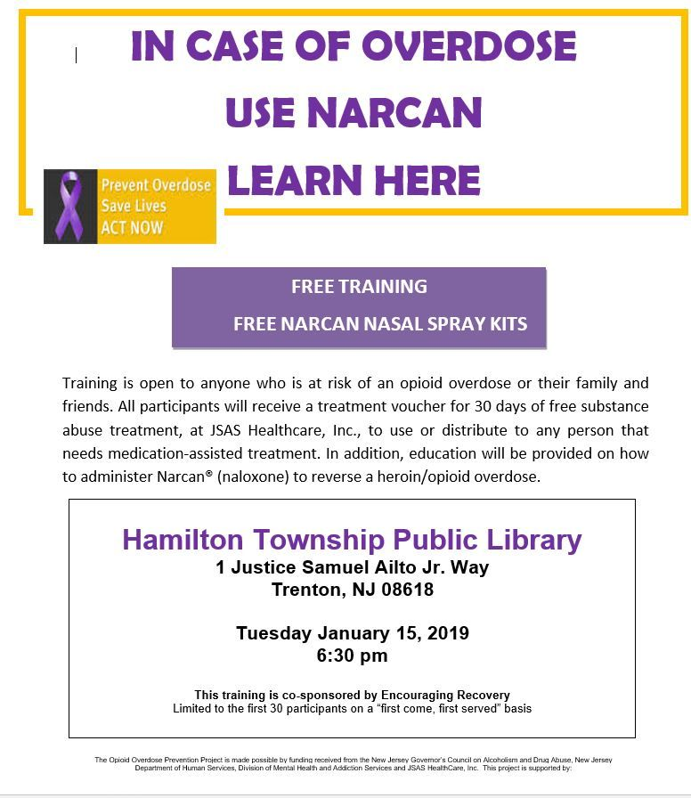 Happening January 15 2019 In Mercer County New Jersey Free Training Nasal Spray Prevention
