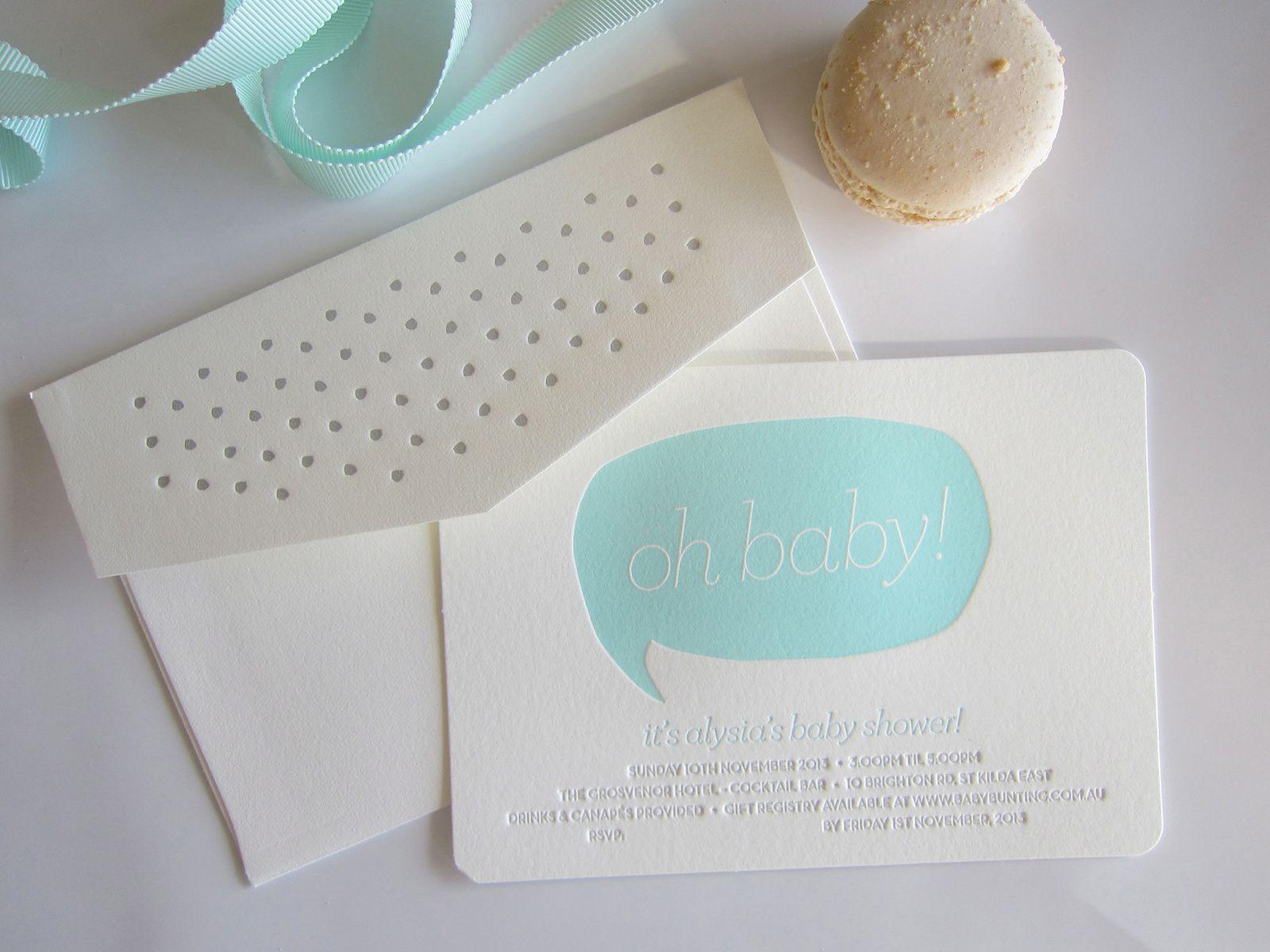 Letterpress Baby shower invitations E M P R E S S | Letterpress ...